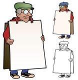 Knorrige kerel die een teken dragen Royalty-vrije Stock Afbeeldingen