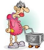 Knorrige Oude Vrouw met een Karakter van het Boodschappenwagentjebeeldverhaal royalty-vrije illustratie