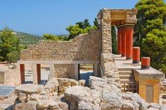 Knossos宫殿。 克利特,希腊 图库摄影