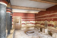 Knossos宫殿在克利特的,小王位屋子,内部 库存照片