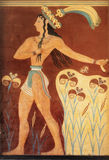 从Knossos,克利特的古老minoan壁画 免版税库存照片