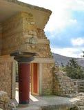 Knossos Column. Crete, Greece, Knossos, Red Doric Column Stock Photo