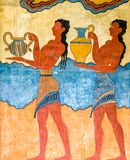 Wall painting at Knossos palace, Crete - Greece Royalty Free Stock Image
