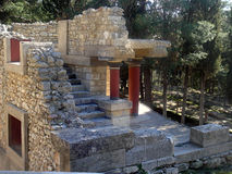 Knossos palace 1. The archaeological site of Knossos is sited 5 km southeast of the city of Iraklion.  This palace covered an area of 22,000sq.m, it was multi Royalty Free Stock Photography