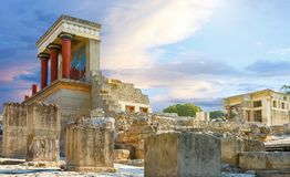 Knossos Palace At Crete, Greece Knossos Palace, Is Largest Bronze Age Archaeological Site On Crete And The Ceremonial Royalty Free Stock Image