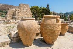 Knossos palace. Crete. Clay jars at Knossos palace. Crete, Greece Stock Photo