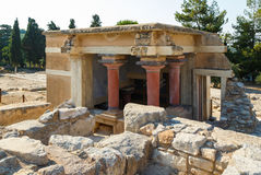Knossos palace at Crete, Greece Knossos Palace, is largest Bronze Age archaeological site on Crete and the ceremonial Royalty Free Stock Photos