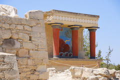 Knossos palace. Detail of ancient ruins of famous Minoan palace of Knosos. Crete island, Greece. Stock Photo