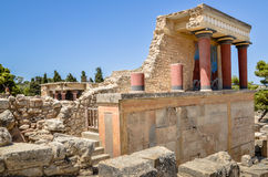 Knossos slott ceremonieln och den politiska mitten Arkivbilder