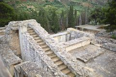 Knossos slott i Kreta: utgrävningar arkivfoto