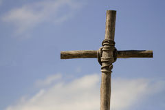 Knot. Rope knot on a wooden cross structure Stock Photos