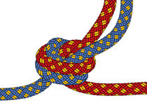 Knot. E of the two ropes on a white background- vector illustration Stock Images
