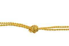 Knot. The double gold cord is fastened in knot. On a white background Royalty Free Stock Photography