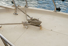 Knot on a bollard of a boat Stock Photo