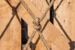 Knot. Close focus tighten hemp rope knot Stock Photo