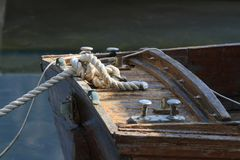 Knot close-up wooden boat moored Stock Photos