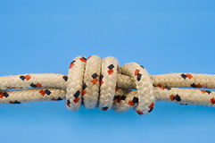 Knot in colored marine rope. Knot on white, red and black marine rope on a blue background Stock Image