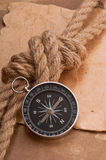 Knot, a compass and a paper Royalty Free Stock Images