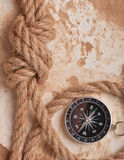 Knot, a compass and a paper Royalty Free Stock Image