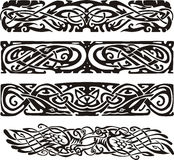 Knot designs in celtic style with birds. Black and white vector illustrations Stock Photo