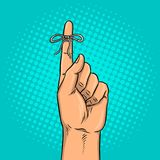 Knot on finger pop art vector illustration. Knot on finger pop art retro vector illustration. Reminder sign. Comic book style imitation Stock Photography