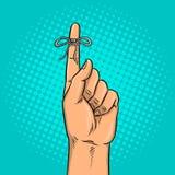 Knot on finger pop art vector illustration Stock Photography