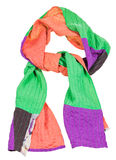 Knot from handmade patchwork scarf isolated Royalty Free Stock Photos