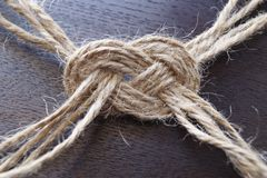 Knot from the jute twine Stock Photography