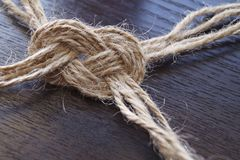 Knot from the jute twine Royalty Free Stock Photo