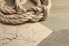 Knot and old map Royalty Free Stock Photo
