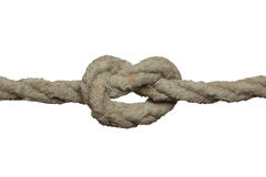 Knot on the old rope. Royalty Free Stock Photo