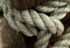 Knot of old ship rope closeup background Stock Images