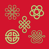 Knot Patterns Collection. Design elements.Outline,midline,fill color are separate Royalty Free Stock Photography