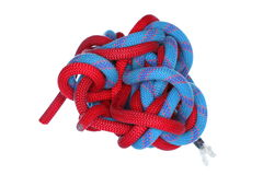 Knot with re and blue colored ropes Royalty Free Stock Image