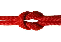 Knot. Red Rope Cord in a Knot Isolated on White Background Stock Photography