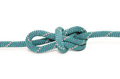 Knot on rope. Inline figure eight knot isolated on white Royalty Free Stock Images