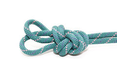 Knot on rope. Double loop figure eight knot isolated on white Royalty Free Stock Photos