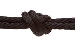 Knot on rope. Knot on a black rope Stock Photos
