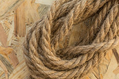 Knot rope made of flax Stock Photo