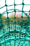 Knot rope netting green safety net blurred background. Close-up of knot rope netting green safety net blurred background Stock Photography