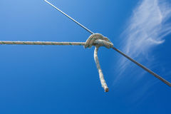 Knot of the rope on on sailing yacht. Royalty Free Stock Photography