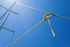 Knot of the rope on on sailing yacht. Royalty Free Stock Photo