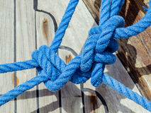 Knot of the rope on on sailing yacht . Stock Photography