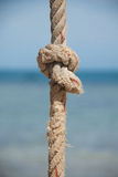 Knot on the rope and sea Royalty Free Stock Photos