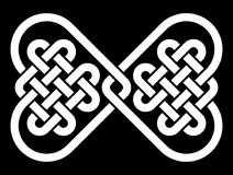 Knot in the shape of a bow tie, made from 2 heart shaped Celtic knots Stock Photos