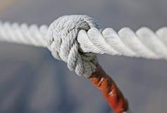 Knot with sturdy hemp Tibetan bridge. Big knot with sturdy hemp Tibetan bridge Royalty Free Stock Image