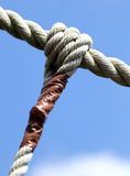 Knot with sturdy rope to remember the commitments Royalty Free Stock Images