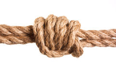 Knot tied by a rope Stock Photo