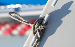 Knot tied on sailing ship Stock Images