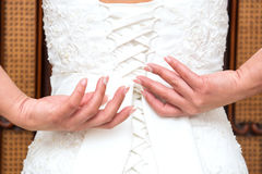 Knot in wedding dress Royalty Free Stock Image